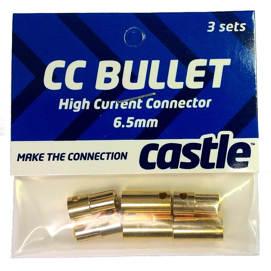 6.5mm Castle Bullet Connectors - 3 pack