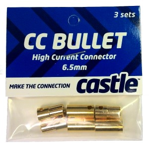 Castle 6.5mm Bullet Connectors - 3 pack